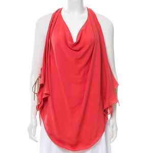 HAUTE HIPPIE Silk Tie Side Leather Cowl Blouse Red